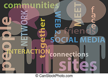 vernetzung, leute, medien, kommunikation, vortrag halten , sozial
