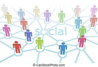 vernetzung, leute verfärben, medien, anschlüsse, sozial