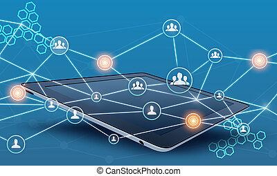 vernetzung, tablette, leute, linie., gemeinschaftsarbeit, verbinden