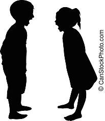 Verrückte Kinder Silhouette.