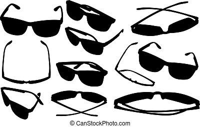 verschieden, brille, satz