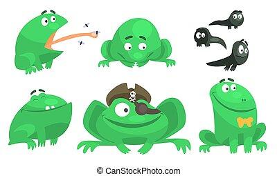 verschieden, gefuehle, verschieden, sammlung, vektor, grün, zeichen, abbildung, frosch, lustiges, karikatur, situationen, amphibie, tier