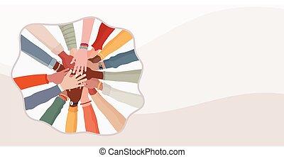 verschieden, gemeinschaftsarbeit, begriff, cooperation.diverse, multi-ethnisch, leute., multikulturell, jedes, oberseite, culture.racial, hände, andere, gruppe, equality.banner, gemeinschaft, people.diversity