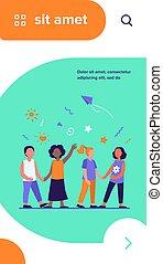 verschieden, gruppe, kinder, kindergarten