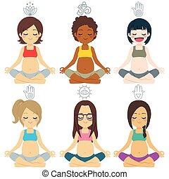 verschieden, gruppe, posen, joga, schwanger