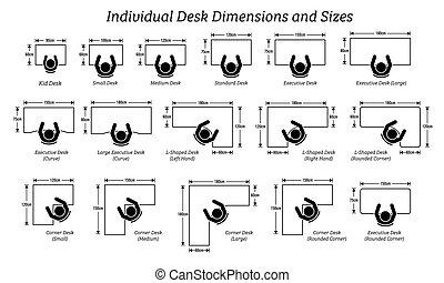 verschieden, maße, sizes., individuum, schreibtisch, tisch