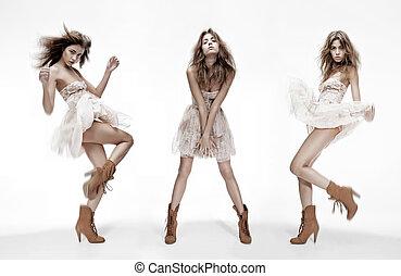 verschieden, mode, bild, dreifach, modell, posen