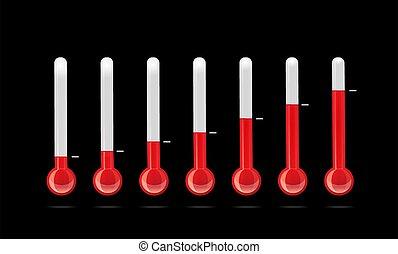 verschieden, temperatur, satz, thermometer, indicators.