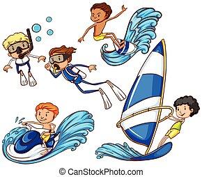 verschieden, watersports, kinder, genießen