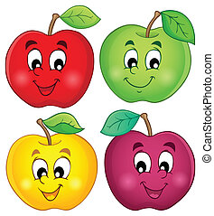 Verschiedene Äpfel sammeln drei
