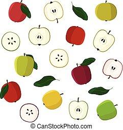 Verschiedene Äpfel sind bereit.