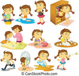 Verschiedene Aktivitäten eines jungen Mädchens.