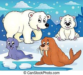 Verschiedene arktische Tiere Thema Bild 1.