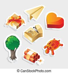 Verschiedene Aufkleber-Icons gesetzt