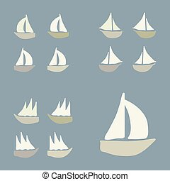 Verschiedene Boote bereit.