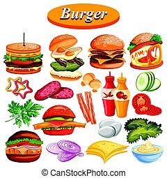Verschiedene Burgerzutat und Soße inklusive Schinken, Käse.