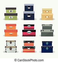 Verschiedene farbige Dekorationsdosen.