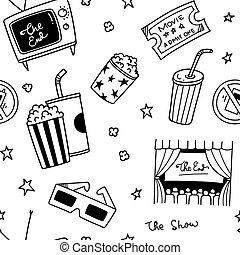 Verschiedene Filme mit Doodle nahtlos Hintergrund.