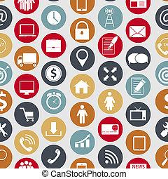 Verschiedene Geschäfts-, Finanz- und Kommunikations-Ikonen, nahtlose Mustervektor Illustration