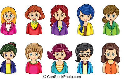 Verschiedene Gesichter der Geschäftsfrauen