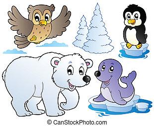 Verschiedene glückliche Wintertiere