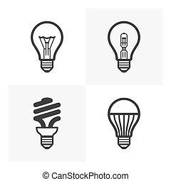 Verschiedene Glühbirnen-Icons.