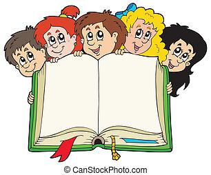 Verschiedene Kinder halten Buch