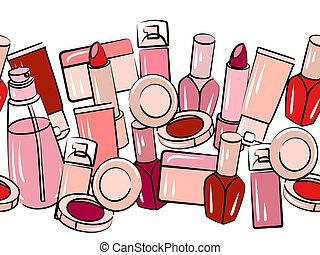 Verschiedene Kosmetika an nahtloser horizontaler Grenze