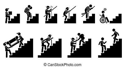Verschiedene Leute auf Treppen oder Treppen.