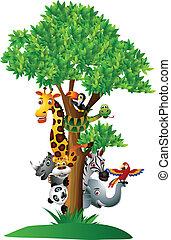 Verschiedene lustige Cartoon-Safari-Tiere