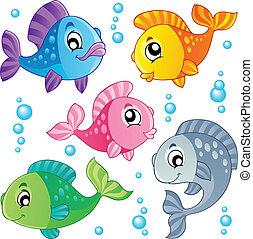 Verschiedene süße Fische sammeln drei