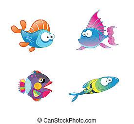Verschiedene süße Fischsammlungen.