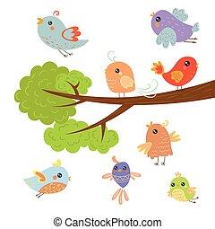 Verschiedene süße kleine Vögel sitzen und fliegen um den Baumzweig.