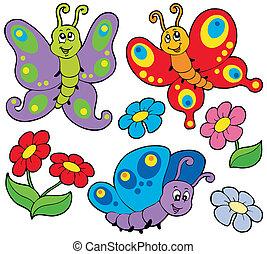Verschiedene süße Schmetterlinge.