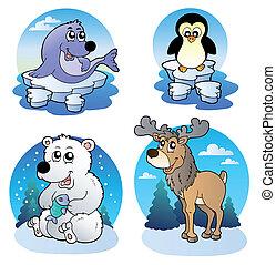 Verschiedene süße Wintertiere