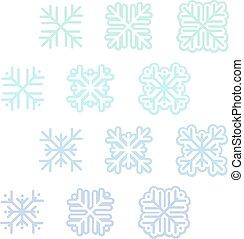 Verschiedene Schneeflocken.