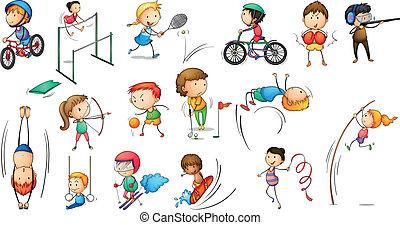 Verschiedene Sportaktivitäten.