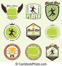 Verschiedene stilisierte Tennis Ikonen.