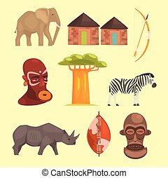 Verschiedene Symbole von Afrika.