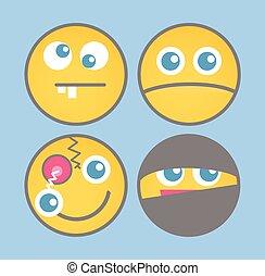 Verschiedene Zeichentrick-Emoticons Vektor.