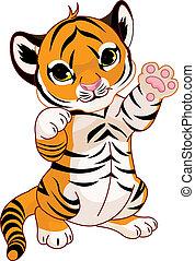 verspielt, tiger, reizend, junge