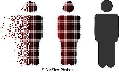 Verteiltes Pixel-Halbton-Man-Icon