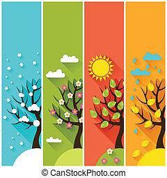 Vertikale Banner mit Winter, Frühling, Sommer, Herbstbäumen.