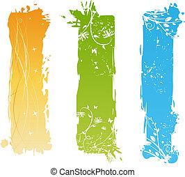 Vertikale Grunge-Banner mit Blumenelementen