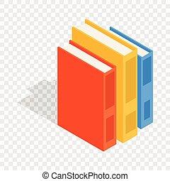 Vertikale Stapel farbiger Bücher isometrische Ikonen.