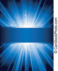 Vertikales blaues Licht ist mit Sternen und Kopienraum geplatzt