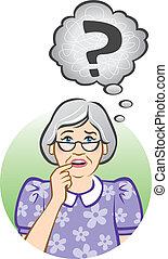 Verwirrte ältere Frau