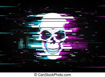 verzerrt, neon, totenschädel, glühen, glitch, schädel, vektor