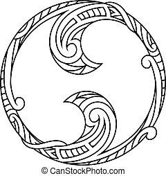 verzierung, form, yin-yang, dekorativ
