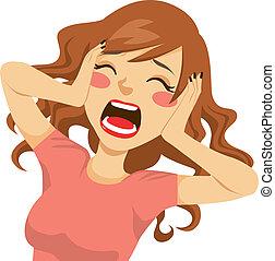 Verzweifelte schreiende Frau